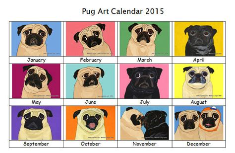 pug chart pug wall calendar unique breed