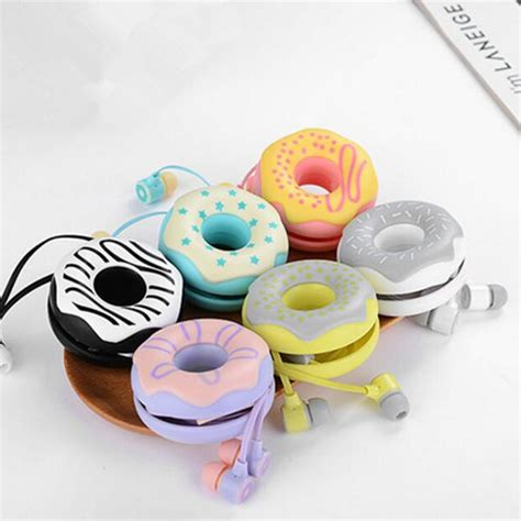 Headset Karakter Macarons 6 donuts macarons earphones 3 5mm in ear stereo earbuds with mic earphone for iphone