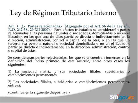ley organica de regimen tributario interno de ecuador 2015 informaci 243 n a revelar sobre partes vinculadas p 225 gina 2