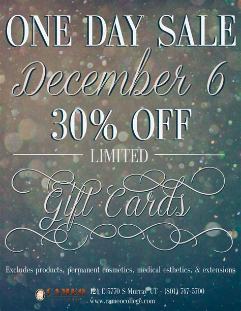Facebook Gift Cards On Sale - one day sale on gift cards cameo college beauty school murray utah