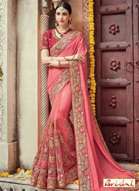 Pink embroidered designer saree for wedding ? FashionEven
