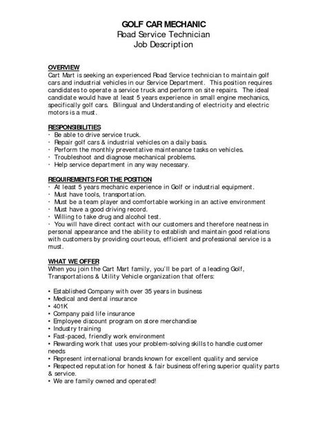 Mechanic Description Resume auto technician description
