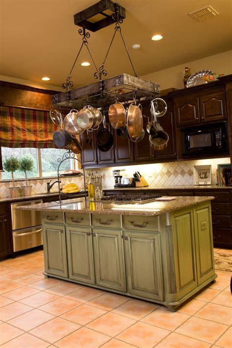 kitchen island with hanging pot rack so many ways to quot go green quot even the kitchen island my