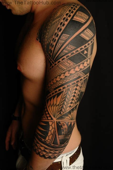 tribal leg sleeve tattoo 2015