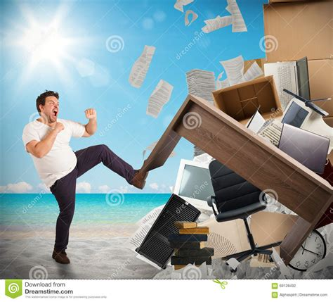beach sand under the work desk furniture mommyessence com stressful job need holidays stock photo image 69128492