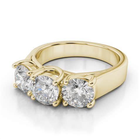 three trilogy ring in 14k yellow gold