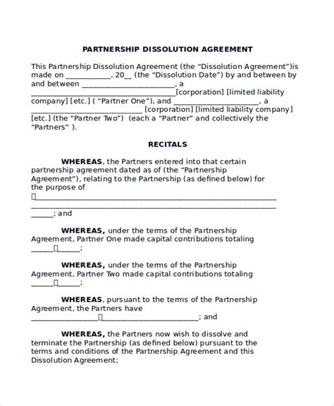llc partnership agreement template sle partnership dissolution agreement templates 7