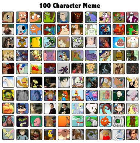 Character Meme - 100 character meme by radical hat on deviantart
