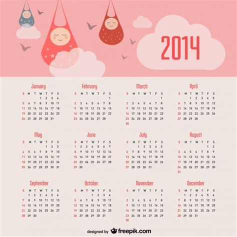 Baby Calendar 2014 2014 Calendar Baby Announcement And Pink Sky Vector Free