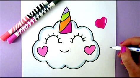 unicorn cloud how to draw a cute kawaii unicorn cloud easy cute