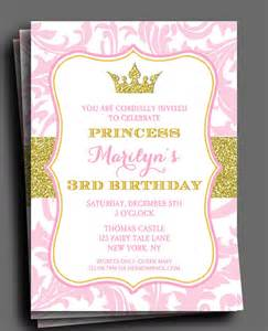 princess invitation or printed with free shipping birthday shower any wording