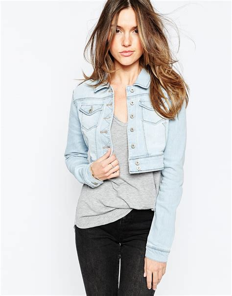 Light Blue Cropped Denim Jacket Pl Jackets