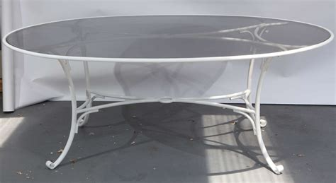 White Metal Patio Table White Aluminum And Smoked Glass Patio Table At 1stdibs