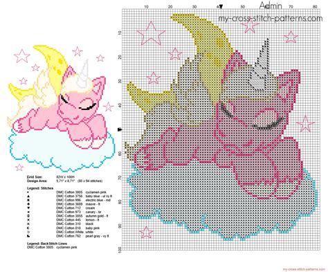unicorn cross stitch pattern unicorn sleeping on the clouds free cross stitch pattern