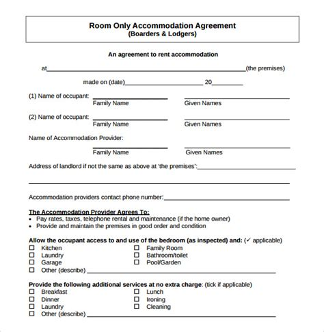 housing agreement template sle home rental agreement 6 documents in pdf