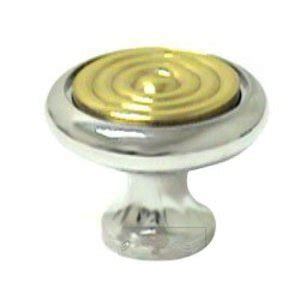 Two Tone 1 1 4 Quot Polished Chrome With Brass Insert Knob Two Tone Cabinet Pulls