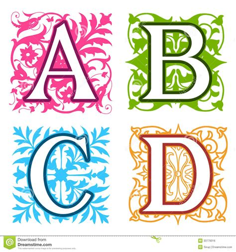 Letter Design A B C D Alphabet Letters Floral Elements Royalty Free Stock Ideas