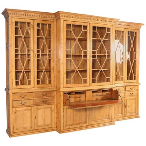 large bookshelves for sale large antique pine breakfront bookcase circa 1890 for sale at 1stdibs