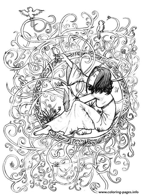 zen anti stress coloring book zen anti stress to print princess in leaves and branches