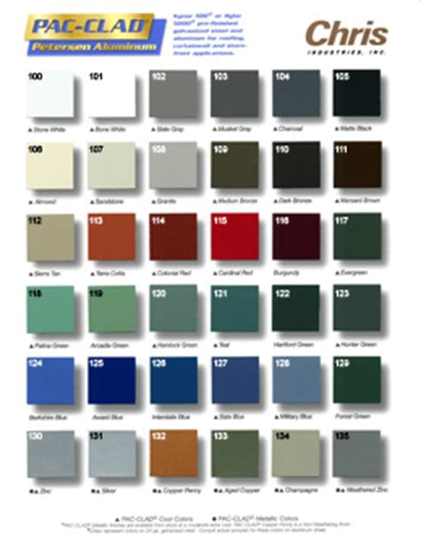 pac clad color chart chimney king color charts
