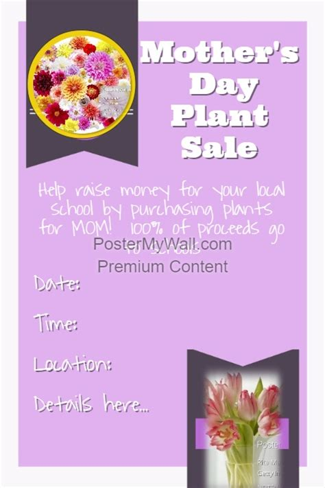 mother s day plant sale small business event flyer sales