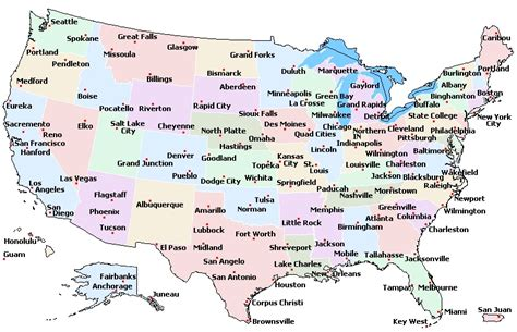 map america states and cities usa cities map einfon
