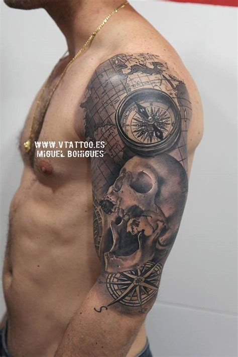 pirate tattoo sleeve designs 100 awesome compass designs sleeve tattoos