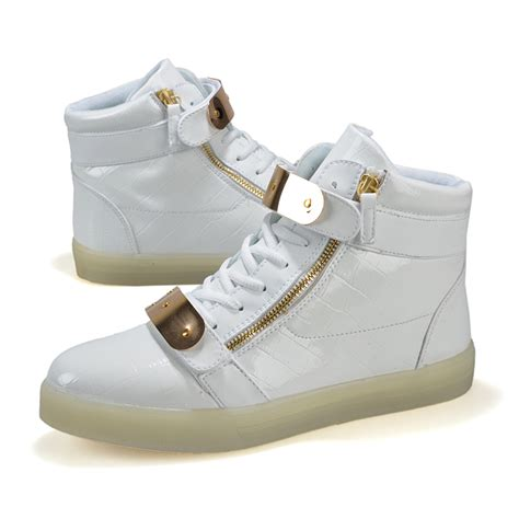Adults Led Light Up Shoes With Gold Straps White Sale For