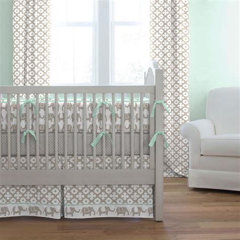 Elephant Cribs by Taupe And Mint Elephants Crib Bumper Carousel Designs