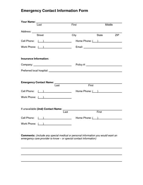 emergency information form template 5 best images of printable emergency contact form template