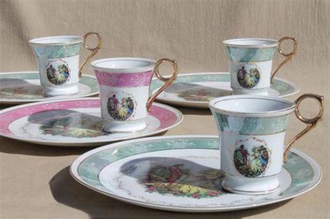 princess pink pattern tea set vintage china plates teacups sweet pink green tea