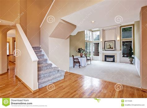 Hallway And Living Room Carpet Luxury House Interior Living Room And Hallway Stock Photo