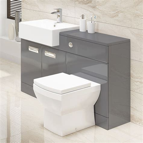 Cuba Grey Left Hand Combination Unit Combination Bathroom Furniture