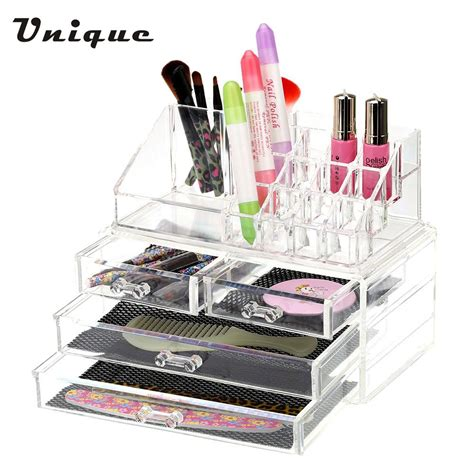 Storage Box 2 In 1 Organizer Pakaian Dalam 2 in 1 makeup cosmetic storage box transparent four drawers bead rings jewelry display boxes