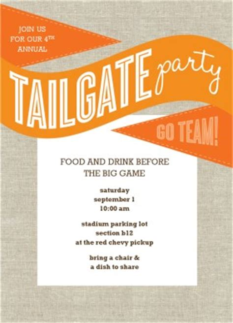 Printable Orange Tailgate Party Invitation Template Tailgate Template