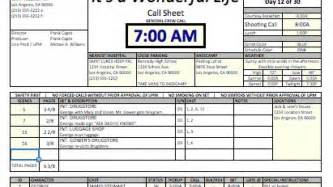 Simple Call Sheet by Casper Spreadsheet Template Makes Call Sheets And