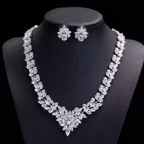 wedding jewelry set cubic zirconia bridal necklace set