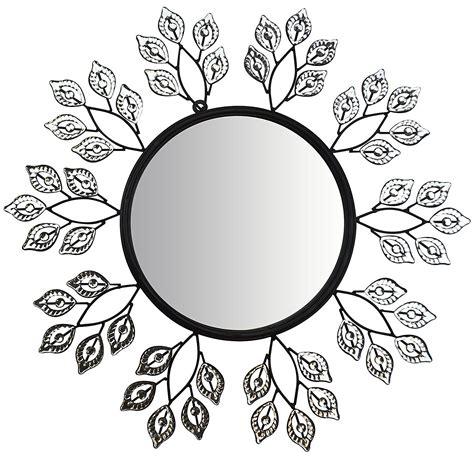 decorative leaf mirror 24 quot decorative crystal leaf metal wall mirror