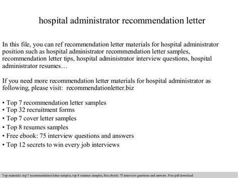 thank you letter to from administrator hospital administrator recommendation letter