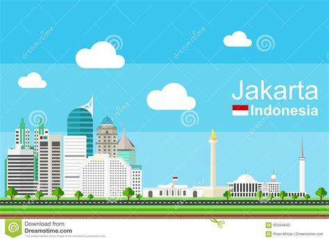 flat design indonesia jakarta cityscape stock vector image 65094842