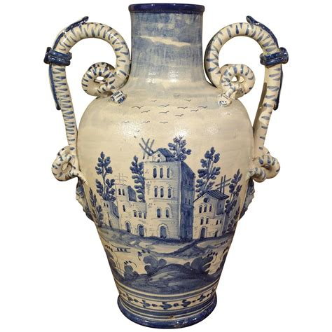 antique blue and white vase from savona italy at 1stdibs