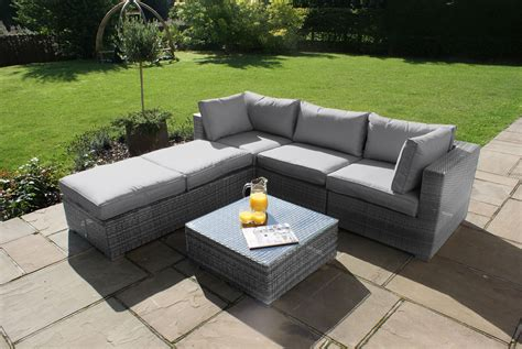 maze rattan corner garden furniture set grey