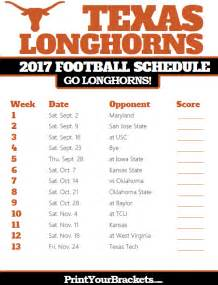 Ut Schedule Longhorns 2017 Football Schedule Printable