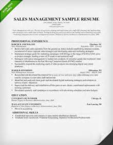 Sles Of Resume Letter by Sales Manager Resume Sle Writing Tips