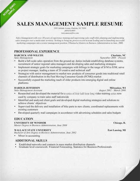 sales manager resume example sample resume and resume examples