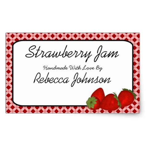jam jar labels template strawberry jam custom text jar label rectangular sticker