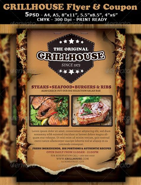 bar and grill menu templates graphicriver grill restaurant magazine ad or flyer