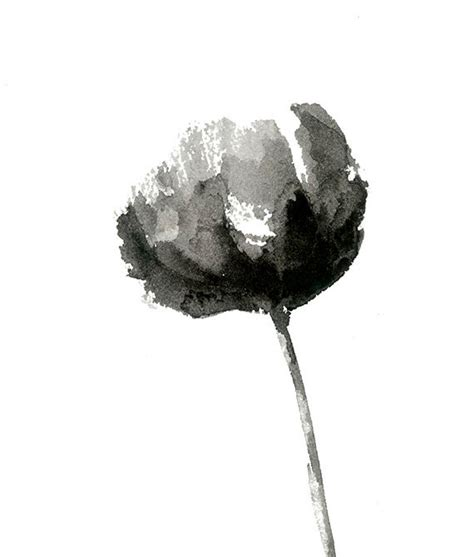 Paintings For Home Decor by Black And White Peony Print From Original Watercolor By