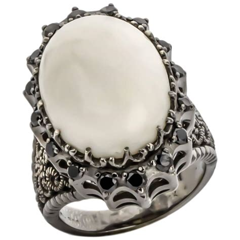 cynthia bach white coral and black ring for sale