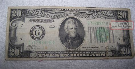 one for the money series 1 series of 1934 a jackson united states 20 bill paper